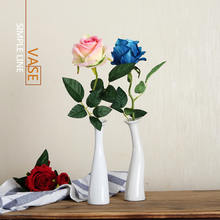 Art Ceramic White Vase Single Rose Small Simple Flower Fake Living Room Desk Table Decoration Creative vase ornament