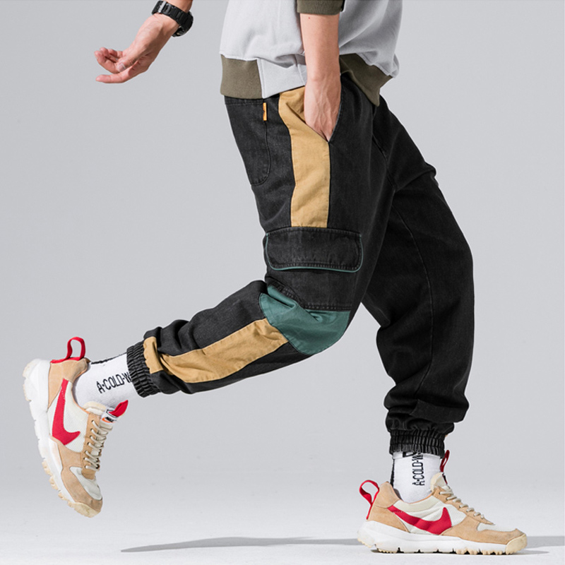 High Street Fashion Men   Jeans   Black Color Loose Fit Ankle Banded Tapered Pants Big Pocket Cargo Pants Hip Hop Jogger   Jeans   Men