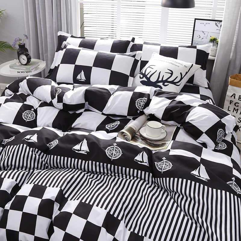 3/4 шт Высокое качество черный, белый цвет печати набор текстильных постельных принадлежностей включая пуховое одеяло и листы и наволочки удобные домашний Постельный набор
