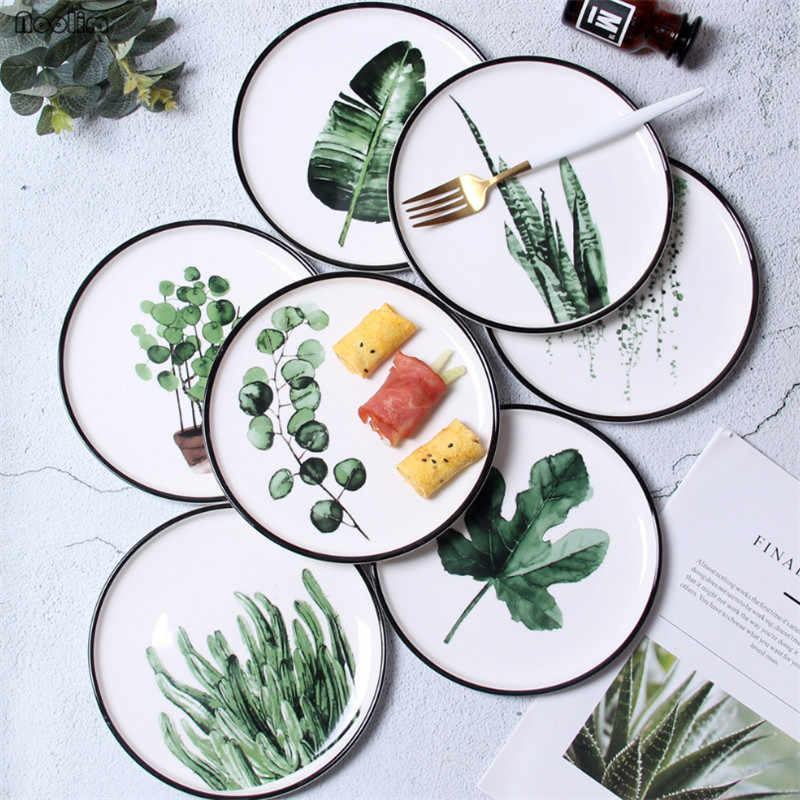 1PC Nordic Hand Painted Green Plants Porcelain Dinner Plate Tableware Creative Ceramic Dessert Plate Dinnerware Cake Dish
