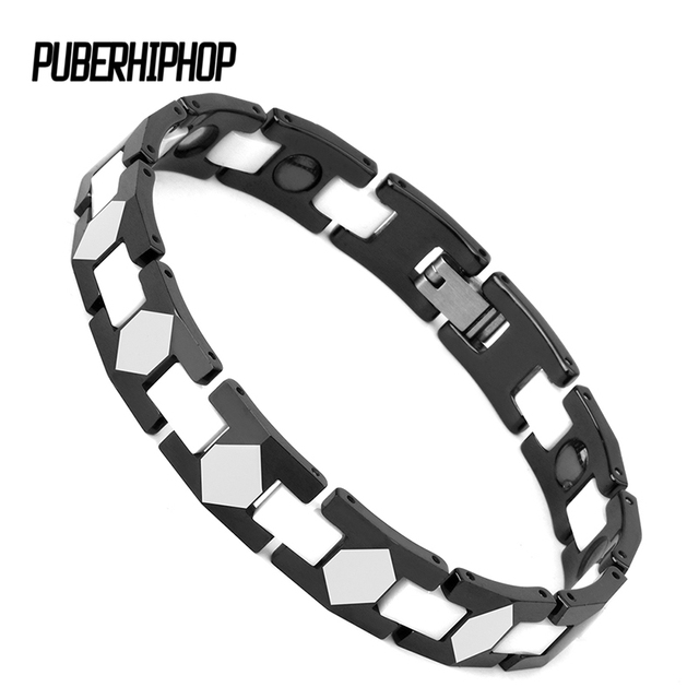 b00ec4778673 2018 Black Women's Health Bracelets & Bangles Magnetic Black White Ceramic  Power Stainless Steel Charm Bracelet Jewelry
