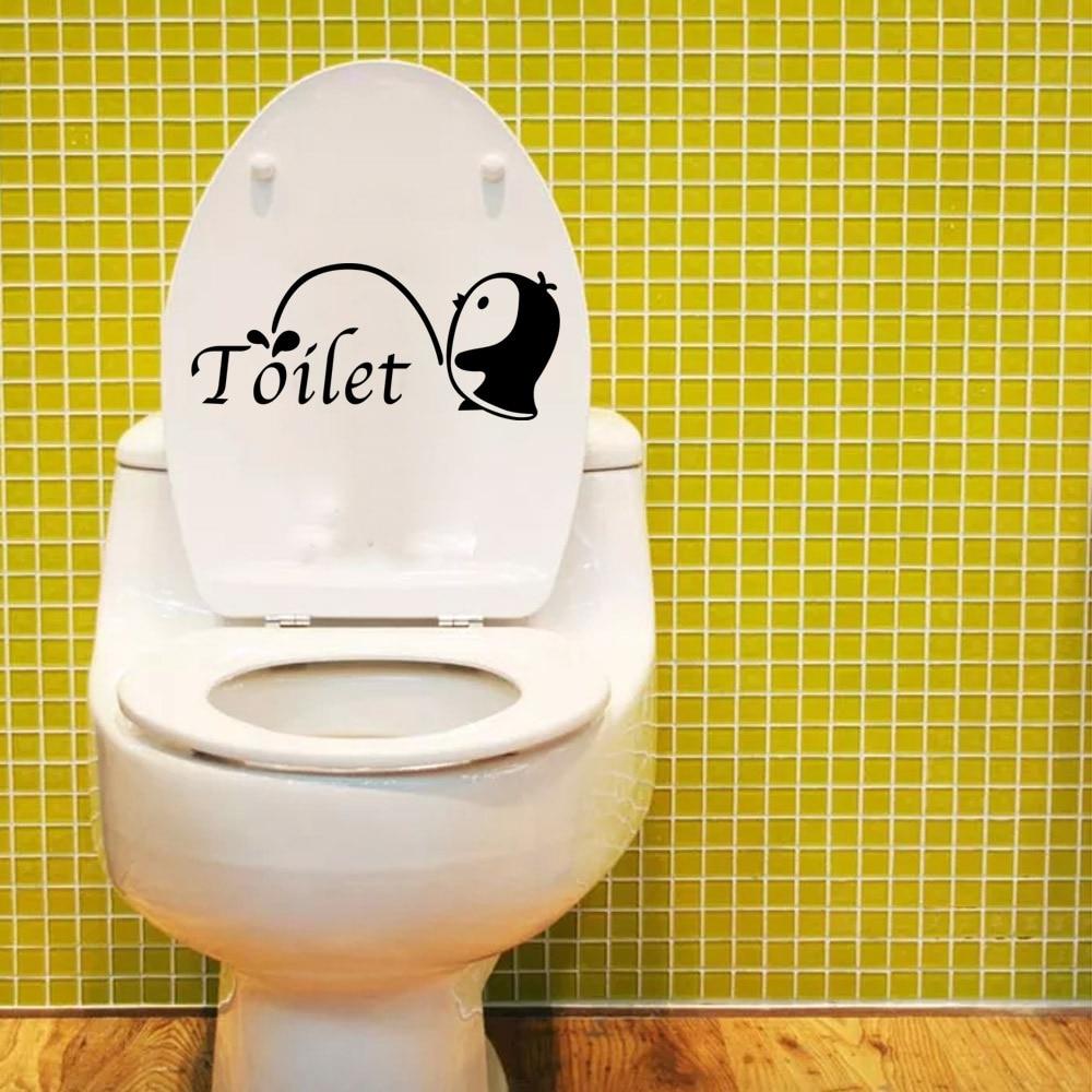 Funny Cute Penguin Silhouette Toilet Sticker Washroom 3d Creative ...