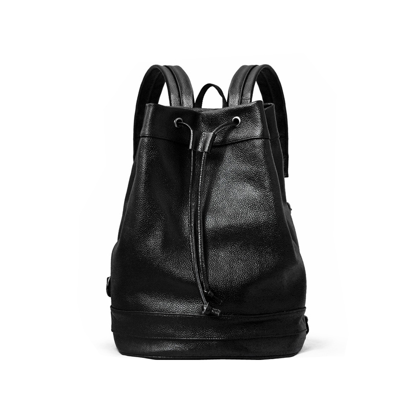 Classic Trend Men's Leather Backpack New Korean Version Of The Drawstring Bag Bag Bucket Type Male Travel Bag