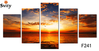 A Five Rectangles Digital Pictures Home Decoration Wall Stickers Art Canvas Painting Ocean Scenery Pictures F241