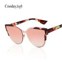 Cat Eye Vintage Sunglasses Flower Italy Famous Brand Designer 2016 New Women Fashion Rose Gold Retro