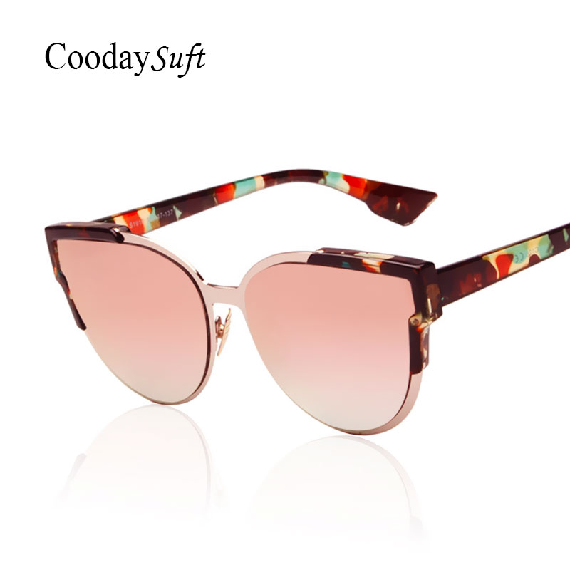 Cat Eye Vintage Sunglasses Flower Italy Famous Brand Designer 2016 New Women Fashion Rose Gold Retro