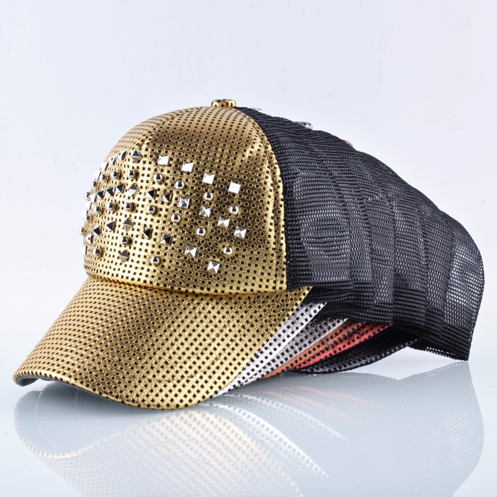 3b1b9a885 Fashion Women Baseball Cap Men Shinning Hip Hop Casquette Rivet Snapback.  Details. Trucker caps