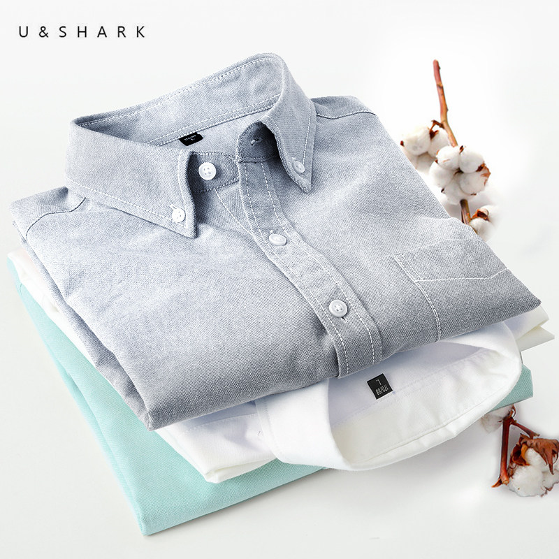U&SHARK Autumn New Mens Cotton Oxford Shirt High Quality Brand Men Blouse Long Sleeve Regular Fit Casual Shirt Male Plus Size