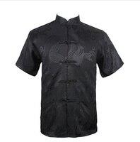 블랙 여름 새로운 중국어 남성 실크 새틴 쿵푸 셔츠 최고 포켓 사이즈 sml xl xxl xxxl 무료 배송 LD30