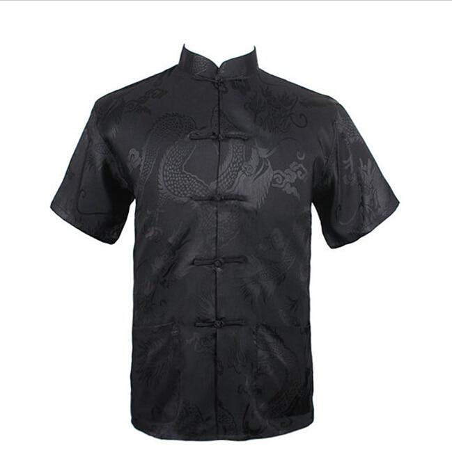 Black Summer New Chinese Men's Silk Satin Kung Fu Shirt Top with Pocket Size S M L XL XXL XXXL Free Shipping LD30