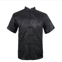 Black Summer New Chinese Men S Silk Satin Kung Fu Shirt Top With Pocket Size S