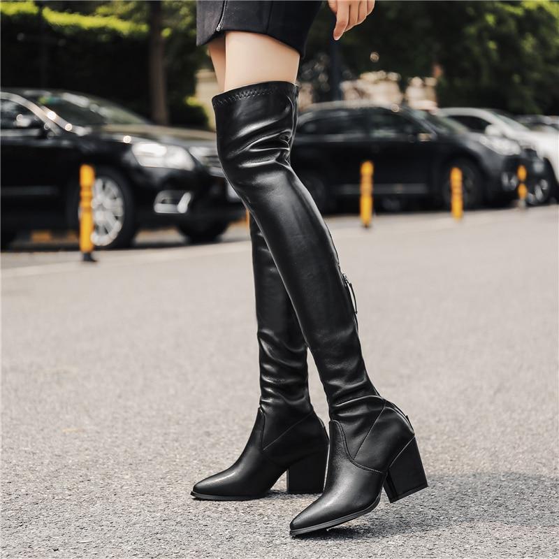 2019 femmes au-dessus du genou bottes bas 7.5cm talons hauts bottes en daim brillant Long bloc talon cuissardes automne hiver neige chaud chaussures