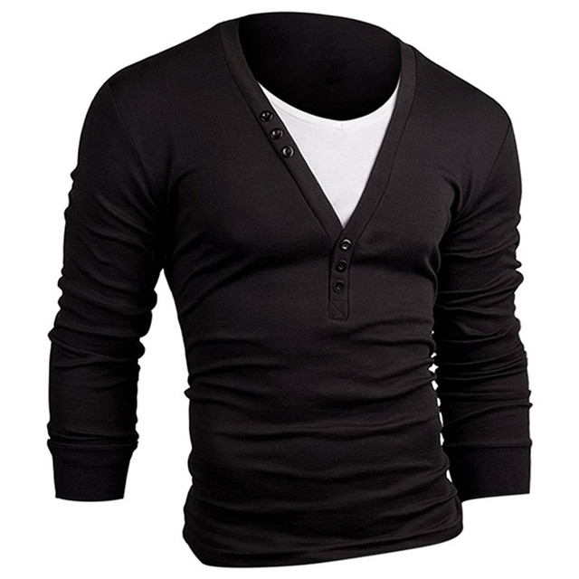 5233527ef60 Men s T-shirts 2018 Fashion Long Sleeve V Neck Slim Fit Casual Henley T  Shirt For Mens Male Plain Tee Top Men T-Shirt Plus Size