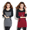 New Winter Patchwork Dress Bottom Long Sleeve Slim Fleece O-Neck Casual Warm Female Dress New Arrival Mini Vestidos z5