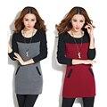 Novo inverno patchwork dress inferior manga comprida magro velo o pescoço casual feminino quente dress chegada nova mini vestidos z5