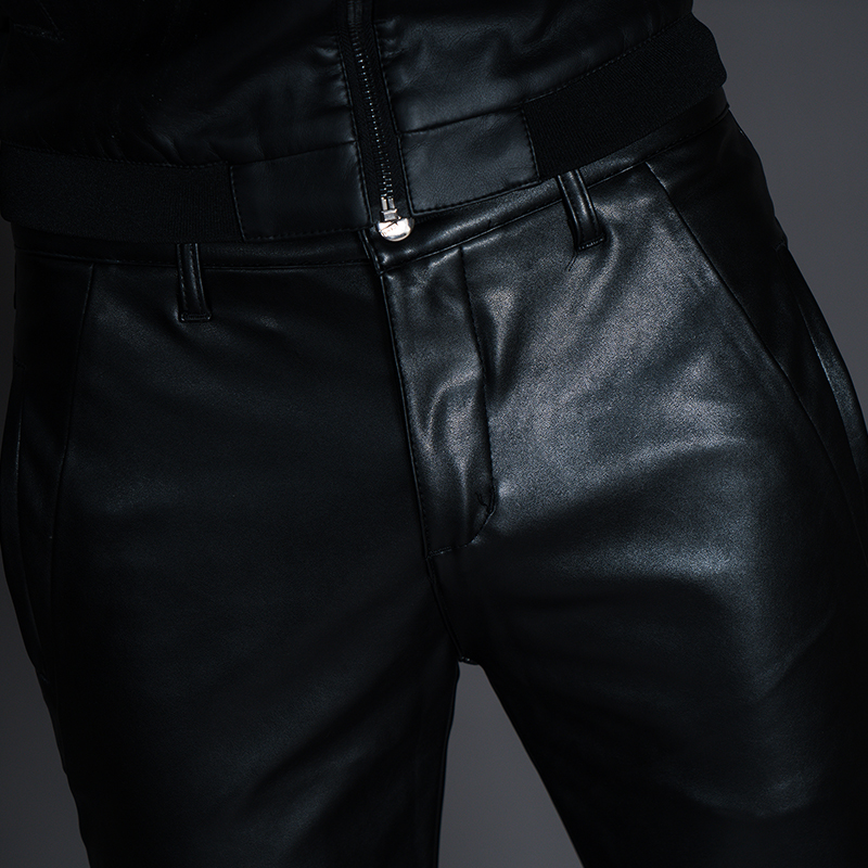 New Winter Spring Men's Skinny Leather Pants Fashion Faux Leather Trousers For Male Trouser Stage Club Wear Biker Pants 25