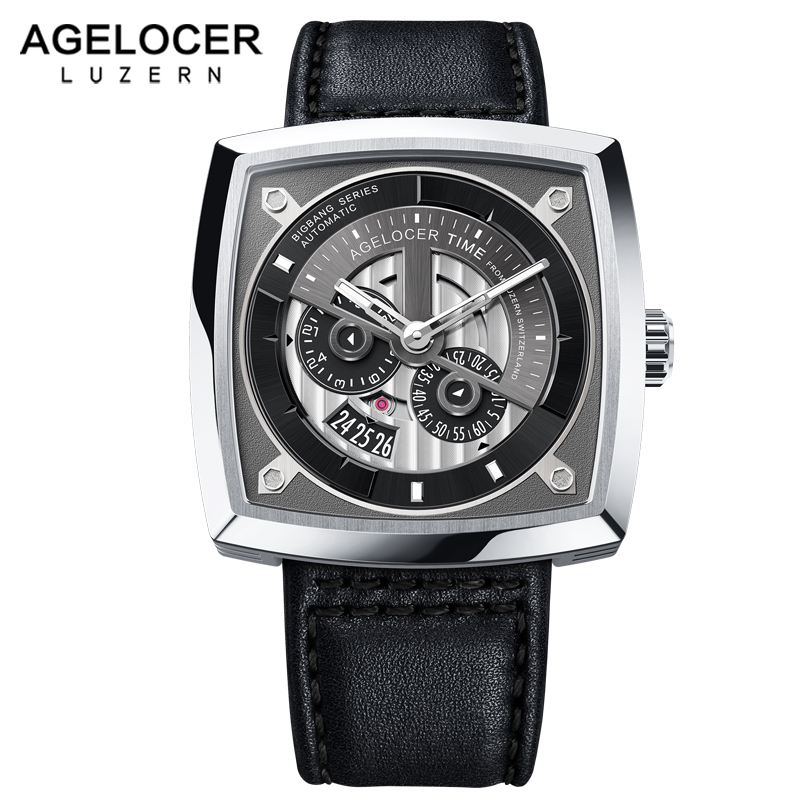 2019 New Swiss Brand AGELOCER Big Sport Watch Men Luminous Analog Automatic Watches Top Black Watch relogio masculino 5601A1