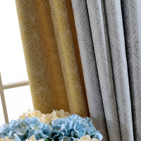 Custom curtains luxury Chinese Stitching Embroidery Nordic Jacquard thick grey cloth blackout curtain tulle drapes N412