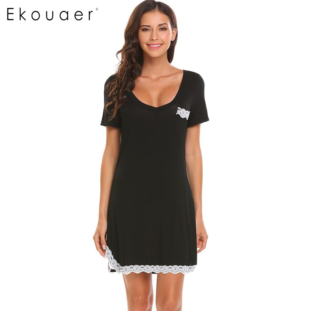 Ekouaer Brand Nightwear Womens V-Neck Short Sleeve Lace Trim Casual Nightdress Sleep Dress Summer Loose Sleepwear XXL