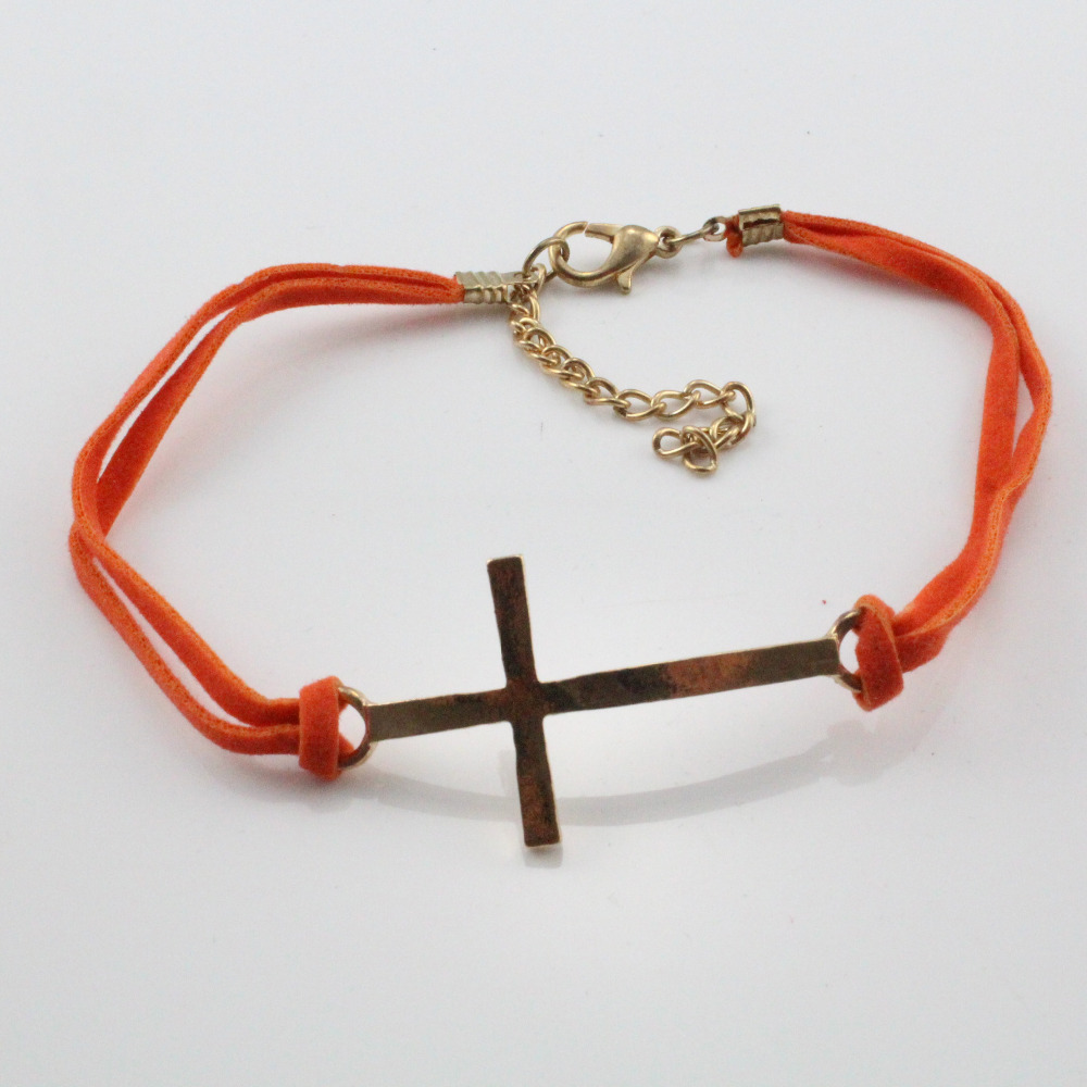 2017 New Arrival Fashion Popular Cheap Leather Sideways Cross Bracelet  Wholesale For Women Jewelry Accessories 4 Colors