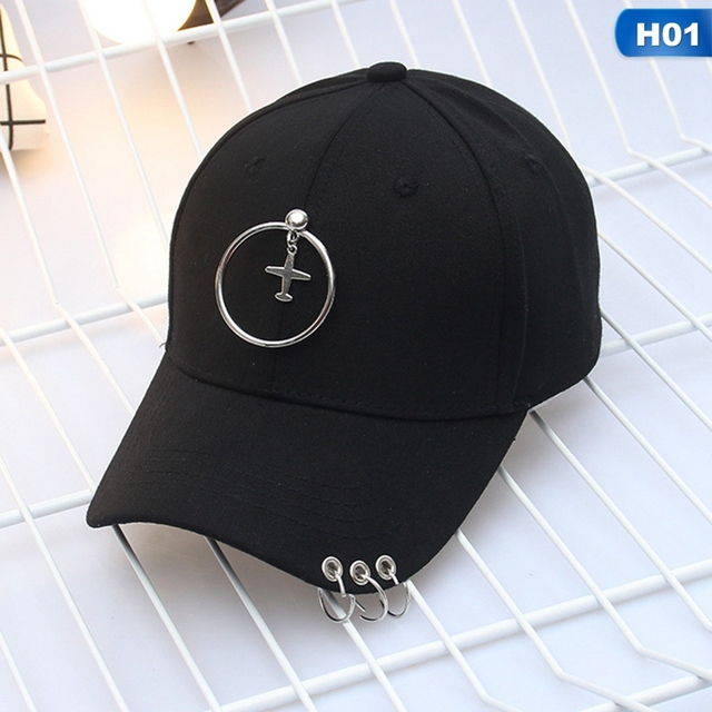 2019 Spring and summer Fashion Iron Ring Hats Adjustable Baseball cap 100% Handmade Ring black Hip Hop Hat For Women Men Unisex
