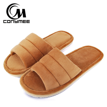 Winter Men Home Indoor Slippers Flip Flops Soft Plush Warm Casual House Shoes Sandals Male Anti Skid Furry Bedroom Slippers Shoe 1