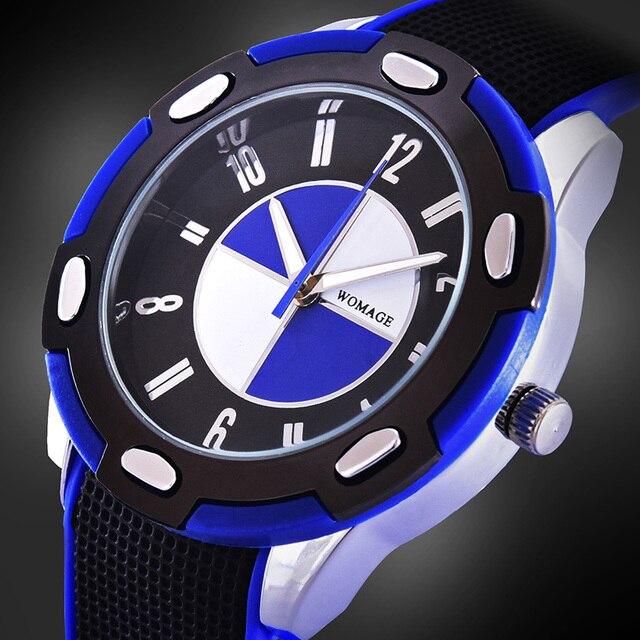 2016 womage reloj de silicona hombres casual esfera redonda de cuarzo relogios nueva venta caliente moda masculina dial grande con estilo de carreras deportes reloj