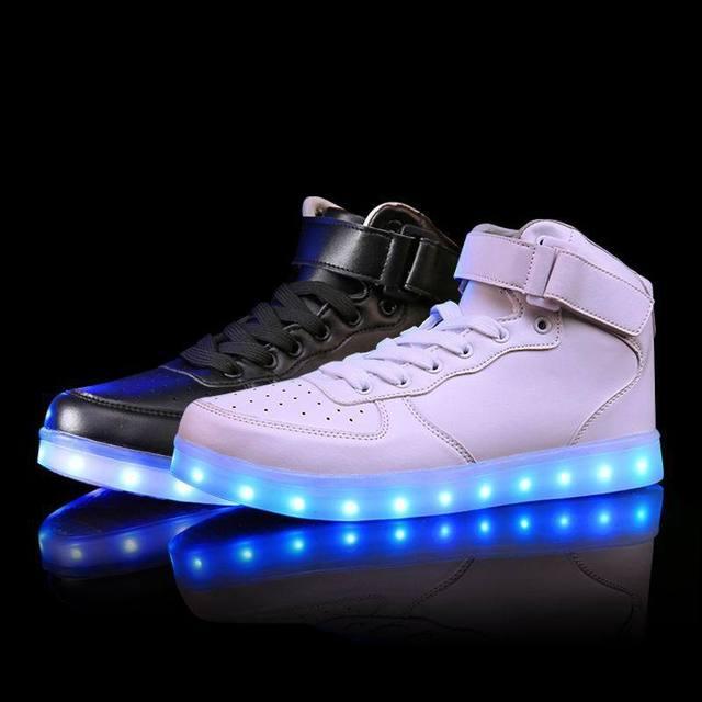 Оптовая светодиодные мужчины обувь световой neon корзины случайный homme обувь high светящиеся с Usb заряда свет моделирование единственным для взрослых