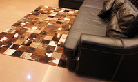 Fashionable art carpet 100% natural genuine cowhide leather cheap artificial grass carpet