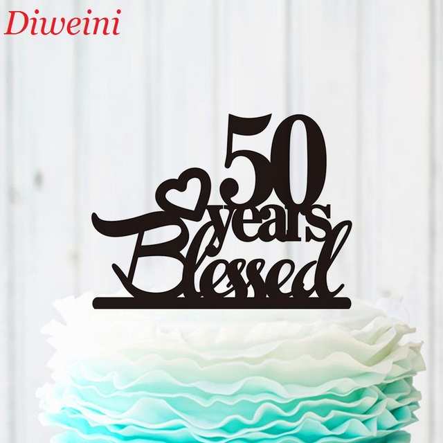 50 Years Blessed Cake Topper 50th Anniversary Cake Topper Heart