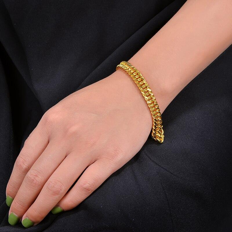 CAIMAO 24 K Pure 999 pulsera de eslabones de oro diseño genuino para hombre Boutique regalo de compromiso de boda fino fiesta clásica de moda - 4
