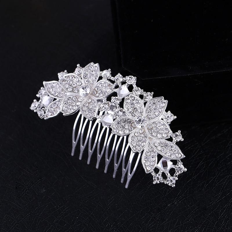Կանանց հարսանիքի հարսանիք արծաթագույն բյուրեղապակ Diamante Rhinestone Flower Hair Hair Մազերի պարագաներ Ականջակալներ Հարսնացու Tiara HOT վաճառք