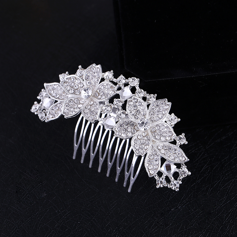 Vrouwen Bruids Zilveren Kristal Diamante Strass Bloem Haar Kam Haaraccessoires Hoofddeksels Bruid Tiara HOT Sale