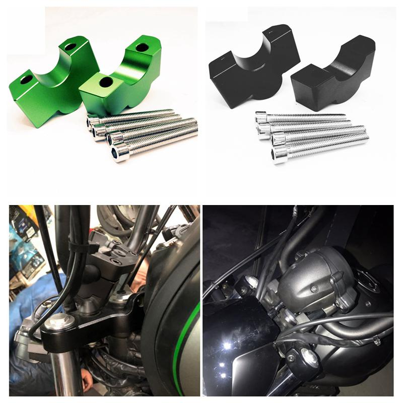 CNC Machining Handlebar Risers Bar Clamp Extend Adapter with Bolts Aluminum Handlebar Riser for KAWASAKI VULCAN S VN650 15-19
