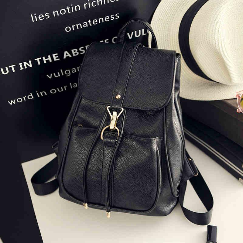 ФОТО 2017 New  Female high quality Travel Backpack Korean Women Backpack Leisure Student Schoolbag Soft PU Leather Women Bag