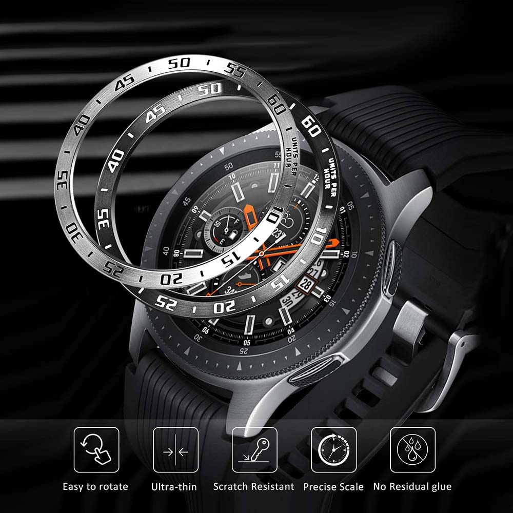 Stainless Steel Bezel Ring For Samsung Galaxy Watch 46mm / Gear S3 Frontier Classic Adhesive Cover Anti Scratch Protection Case