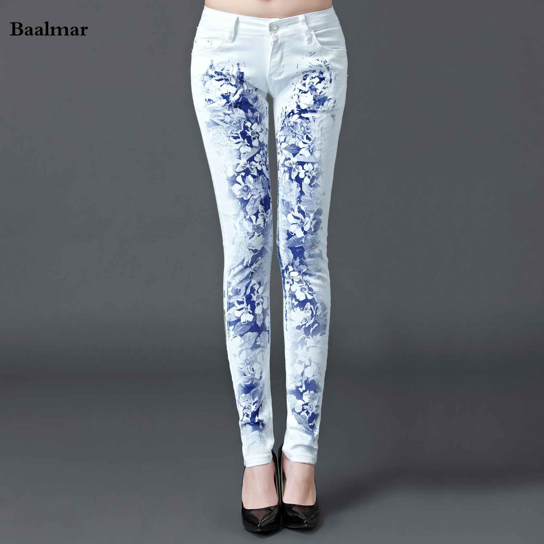 Baalmar Jeans Woman 2017 Casual Denim Skinny Jeans White Boyfriend Jeans For Women Printing Denim Pants