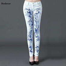 Baalmar Jeans Woman 2017 Casual Denim Skinny Jeans White Boyfriend Jeans For Women Printing Denim Pants Spring Popular