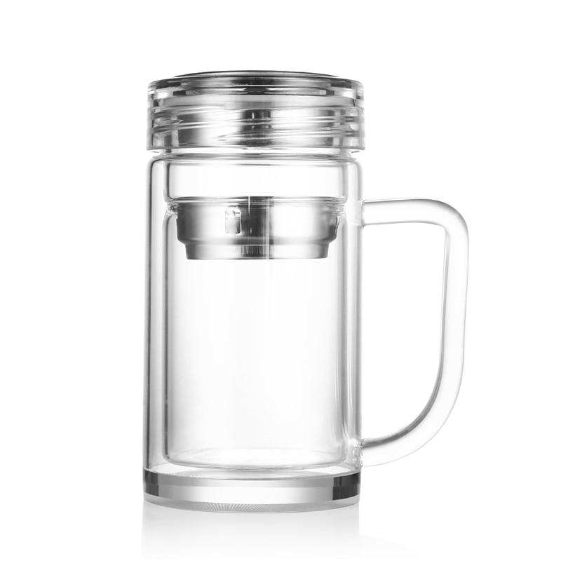 Water Bottle For Office: 320ML Glass Water Bottle Office Leakproof Double Layer