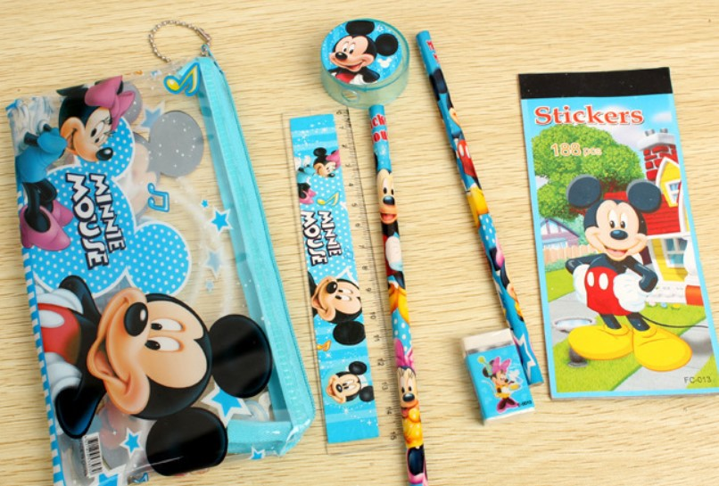 8 packs Minnie mouse Mickey Kids happy birthday party favors School stationery set treat gift bags - Delight Party store