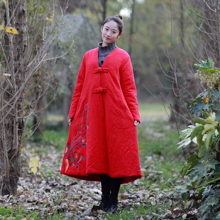 Women Winter Thick Padded Loose Coat Ladies Embroidery Chinese Retro Patchwork Outerwear Overcoat Warm Long Coats parkas