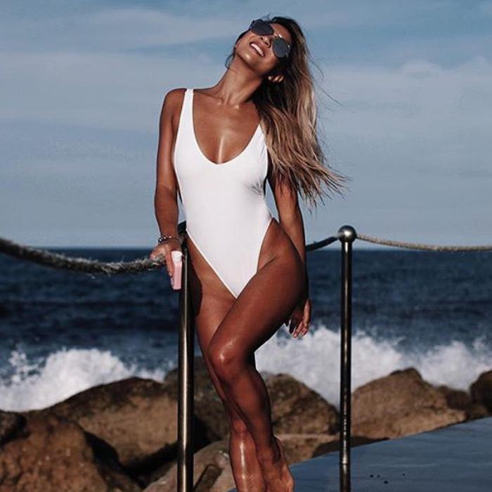 2019 Одноцветный Цельный купальник, женская одежда для плавания, глубокий v-образный вырез, монокини, боди с открытой спиной, купальный костюм,... 24