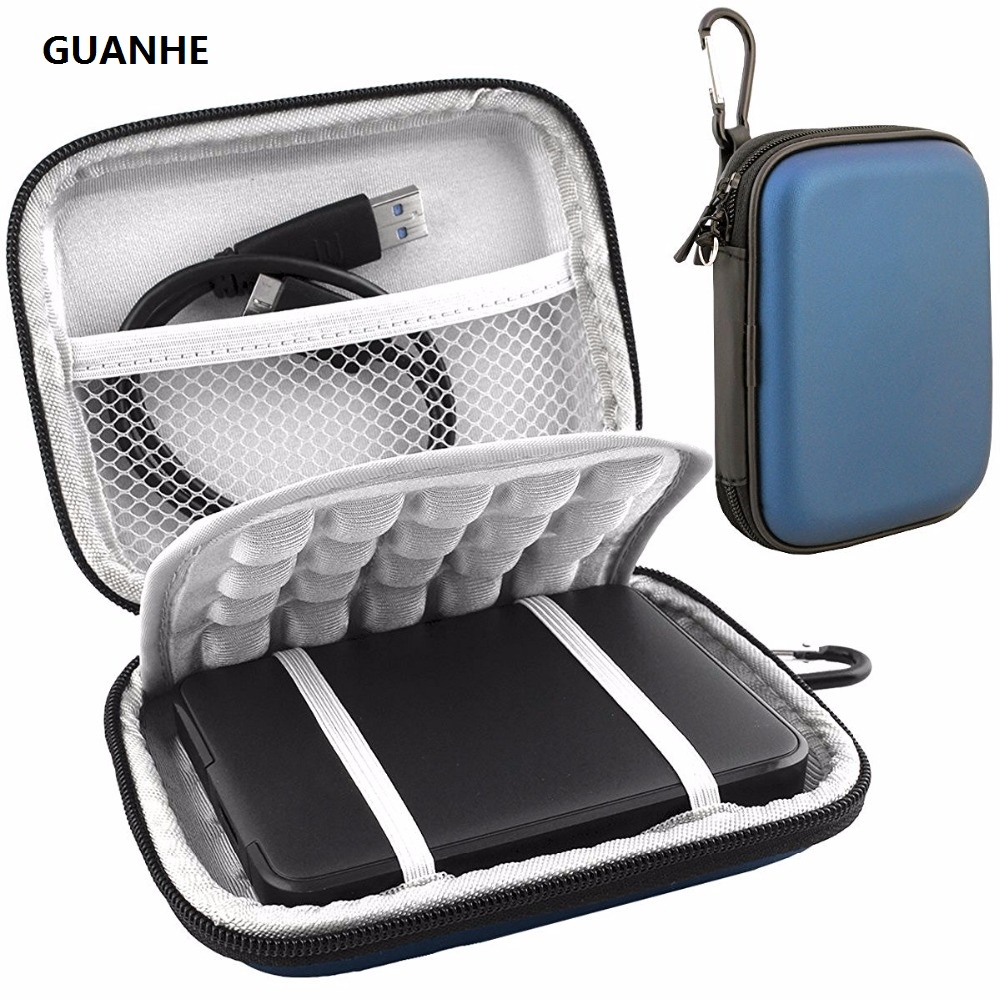 GUANHE 2.5 Shockproof Carrying External Hard Drive Bag for WD My Passport Ultra Slim Essential WD Elements SE 500GB 1TB 2TB