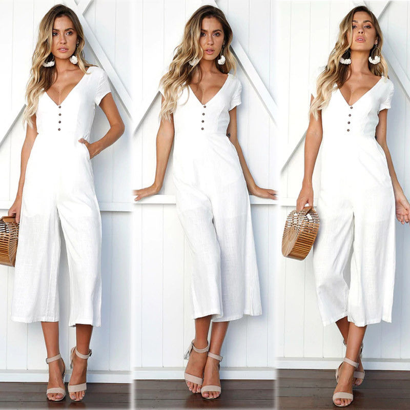 New women Wide Leg   Jumpsuit   Fashion Ladies Short sleeve Deep V neck Buttons   Jumpsuits   Female Casual Straight Romper Trousers