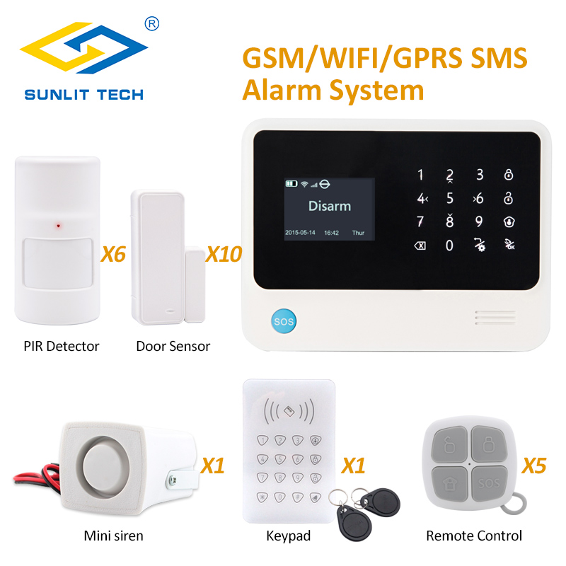 Android IOS APP Remote Control WIFI GSM GPRS Burglar Alarm System Security Home with Two Way Door Window Sensor Detector yobangsecurity wifi gsm gprs home security alarm system android ios app control door window pir sensor wireless smoke detector