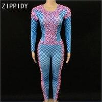Fashion Pink Pearls Stones Blue Plaid Pattern Jumpsuits Spandex One Piece Women' Outfit Women Singer Leggings