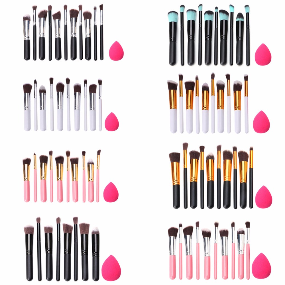 10Pcs Cosmetic Makeup Brush Set Eyeshadow Foundation Blush Brushes+Powder Puff delicate cosmetic brush 10pcs