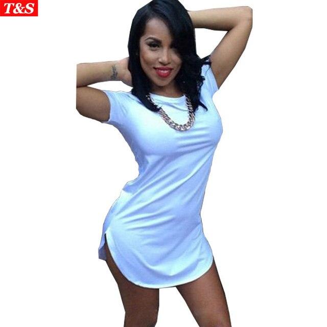 2078d6a89cb Sexy Club Dress 2015 Fashion Plus Size T Shirt Dress Casual Short Sleeve  Split Bandage Dresses