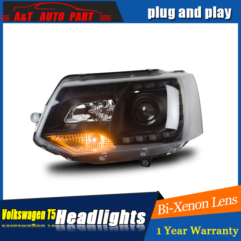Auto Lighting Style LED Head Lamp for VW T5 headlights 2010-2014 for T5 angle eyes drl H7 hid Bi-Xenon Lens low beam auto clud style led head lamp for benz w163 ml320 ml280 ml350 ml430 led headlights signal led drl hid bi xenon lens low beam