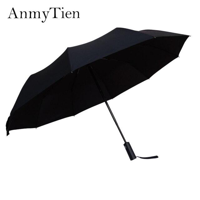 d8c44ed0156f2 Male Business Windproof Umbrella 116cm Fiberglass Advertising Long Umbrella  10 Bone Umbrella Stand Black Simple Models